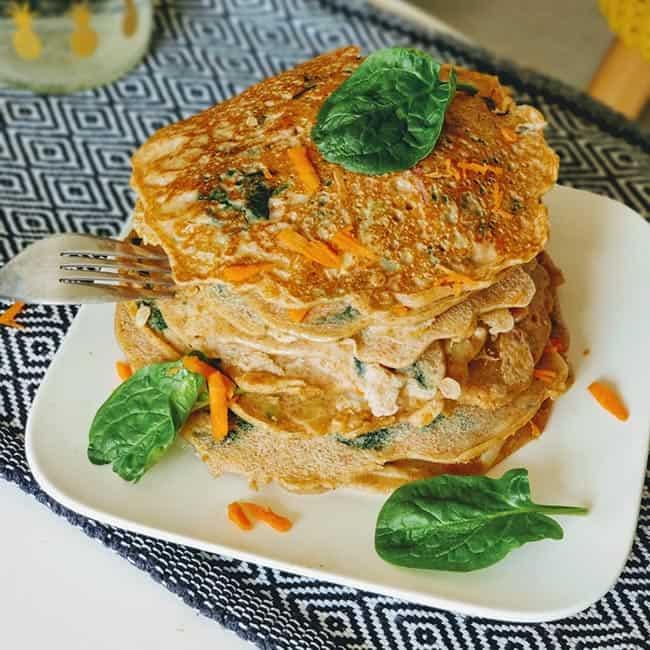 Pancake épinards chèvre et bacon